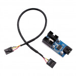 Adapteris Motherboard USB 9Pin Interface Header Splitter 1 to 2 Extension Cable Adapter 9-Pin USB HUB Connectors