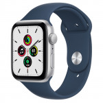 Apple Watch SE GPS, 44mm Silver Aluminium Case with Abyss Blue Sport Band - Regular