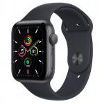 Apple Watch SE GPS, 44mm Space Grey Aluminium Case with Midnight Sport Band - Regular