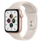 Apple Watch SE GPS, 44mm Gold Aluminium Case with Starlight Sport Band - Regular