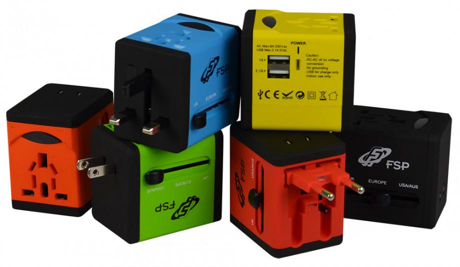 Travel Adapter with 2USB ports, Green UK/US/AUS/EU plugs, 5V2.1A+5V1A 1