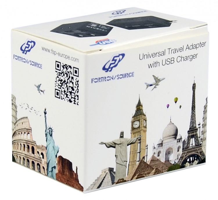 Travel Adapter with 2USB ports, Green UK/US/AUS/EU plugs, 5V2.1A+5V1A 0
