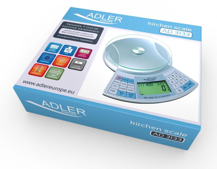 Virtuves svari Adler ADS 3133 Maximum weight (capacity) 5kg, Metallic warranty 3