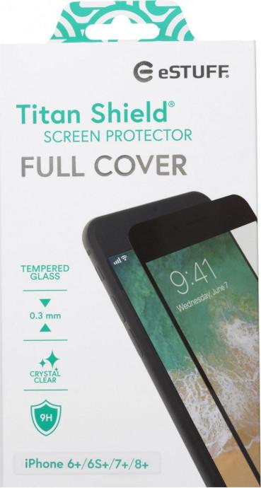 eSTUFF TitanShield Apple iPhone 6+/6S+/7+/8+ Fullcover Black 0