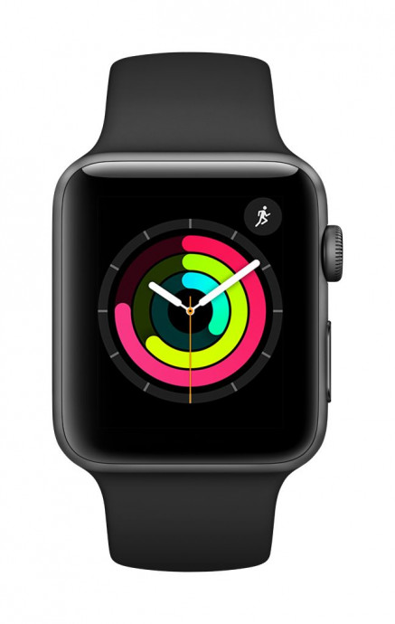 Apple Watch Series 3 GPS, 38mm Space Grey Aluminium Case with Black Sport Band 0