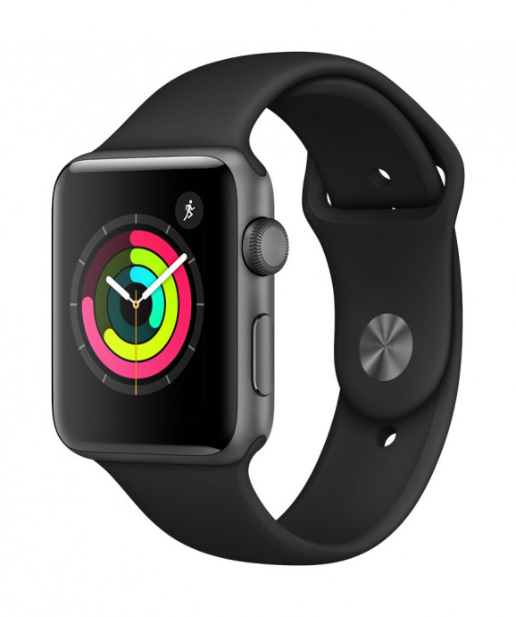 Apple Watch Series 3 GPS, 38mm Space Grey Aluminium Case with Black Sport Band 1