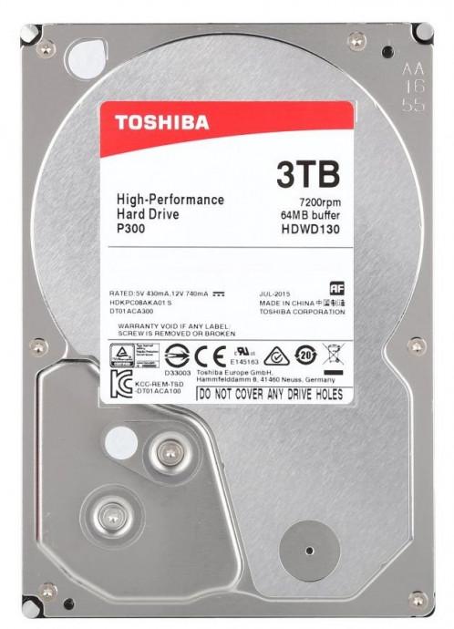 Cietais disks 3TB - Toshiba P300 SATA3 3.5'' 7200RPM 64MB cache 1