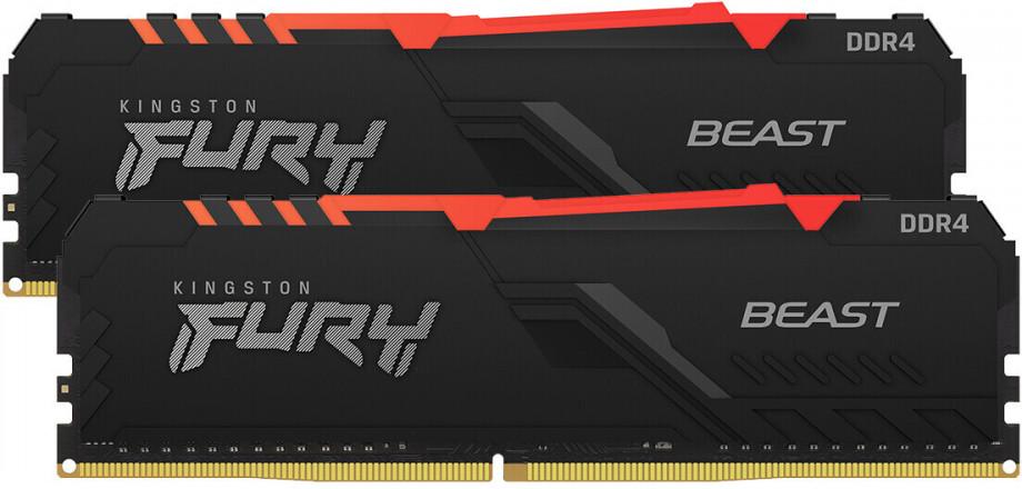 Operatīvā Atmiņa Kingston Fury Beast RGB 16GB (2x8GB) 3000MHz CL15, Kit of 2, DDR4 0