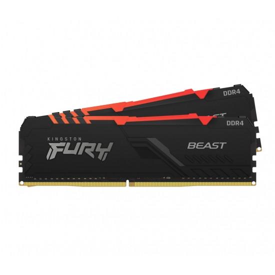 Operatīvā Atmiņa Kingston Fury Beast RGB 16GB (2x8GB) 3200MHz CL16, Kit of 2, DDR4 1