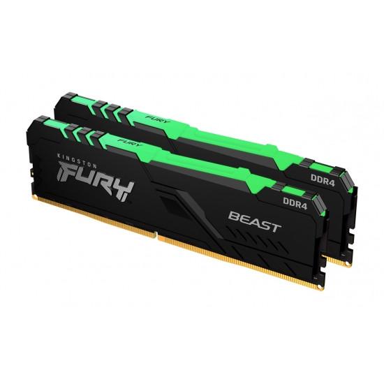 Operatīvā Atmiņa Kingston Fury Beast RGB 16GB (2x8GB) 3200MHz CL16, Kit of 2, DDR4 0