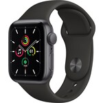 Apple Watch SE GPS, 44mm Space Gray Aluminium Case with Black Sport Band - Regular