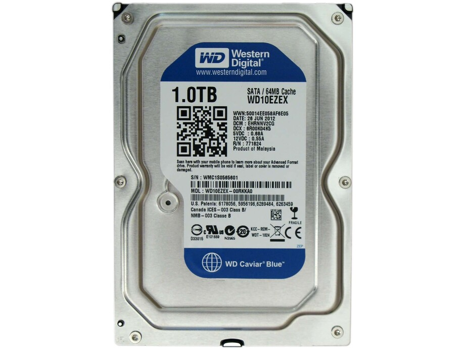 "Cietais disks 1TB - WD Blue SATA3 3.5"" 7200RPM 64MB cache. 0"