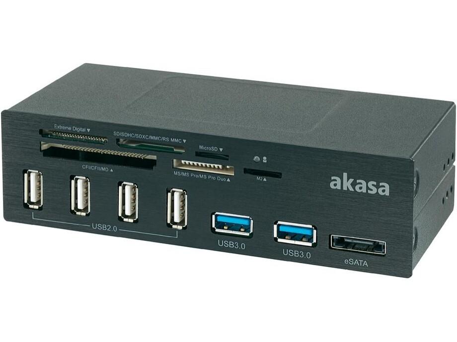 "Akasa 5.25"" Aluminium USB Panel 4xUSB2, 2xUSB3.0, USB 3.0 card reader,  eSATa 0"