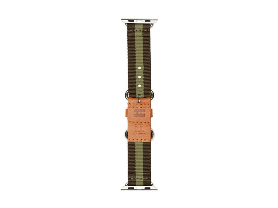 TOMS Apple Watch Band Utility 38mm Green Stripe nylon strap with leather detailing 1
