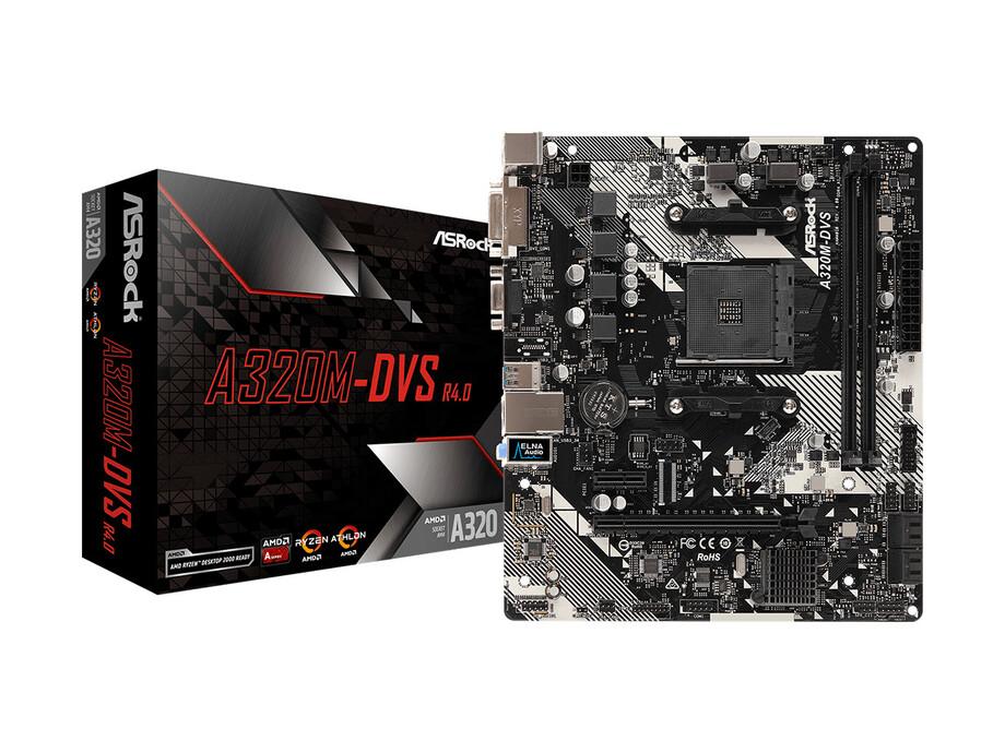 Pamatplate ASRock A320M-DVS R4.0, AM4, 2xDDR4 3200+, DVI-D, D-Sub, USB3.1 0