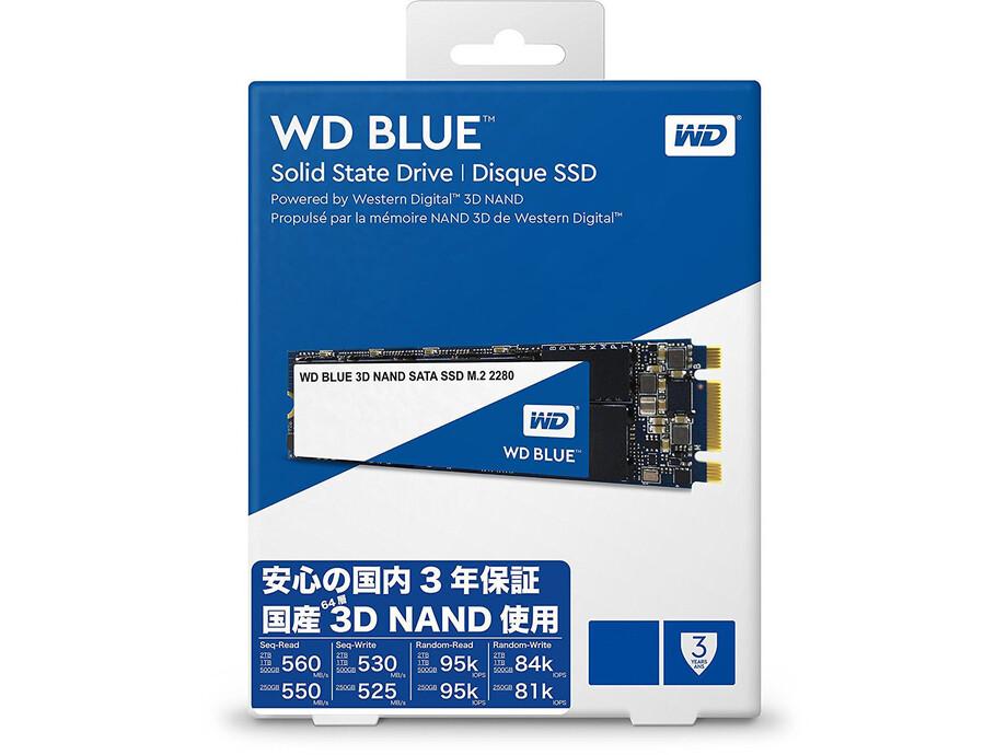 SSD disks Western Digital 3D NAND, 250GB, M.2 2280, 550/525 MBytes/sec, SATA 2