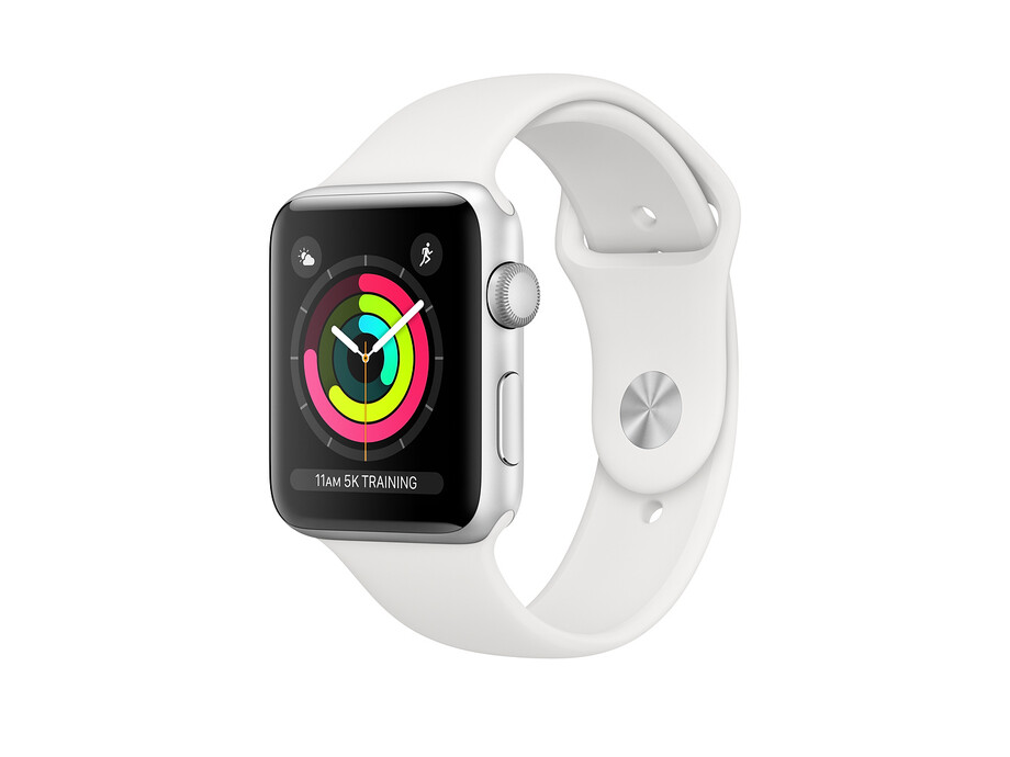 Apple Watch Series 3 GPS, 42mm Silver Aluminium Case with White Sport Band 1