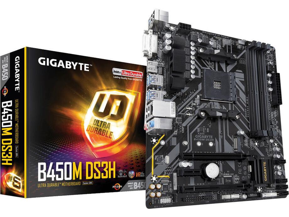 Pamatplate Gigabyte B450M DS3H / DVI-D HDMI / AMD AM4 4DIMM 1xRGB CPU 4pin header 3