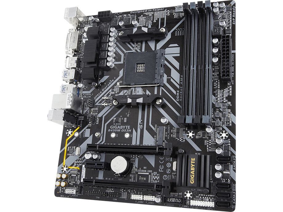 Pamatplate Gigabyte B450M DS3H / DVI-D HDMI / AMD AM4 4DIMM 1xRGB CPU 4pin header 0