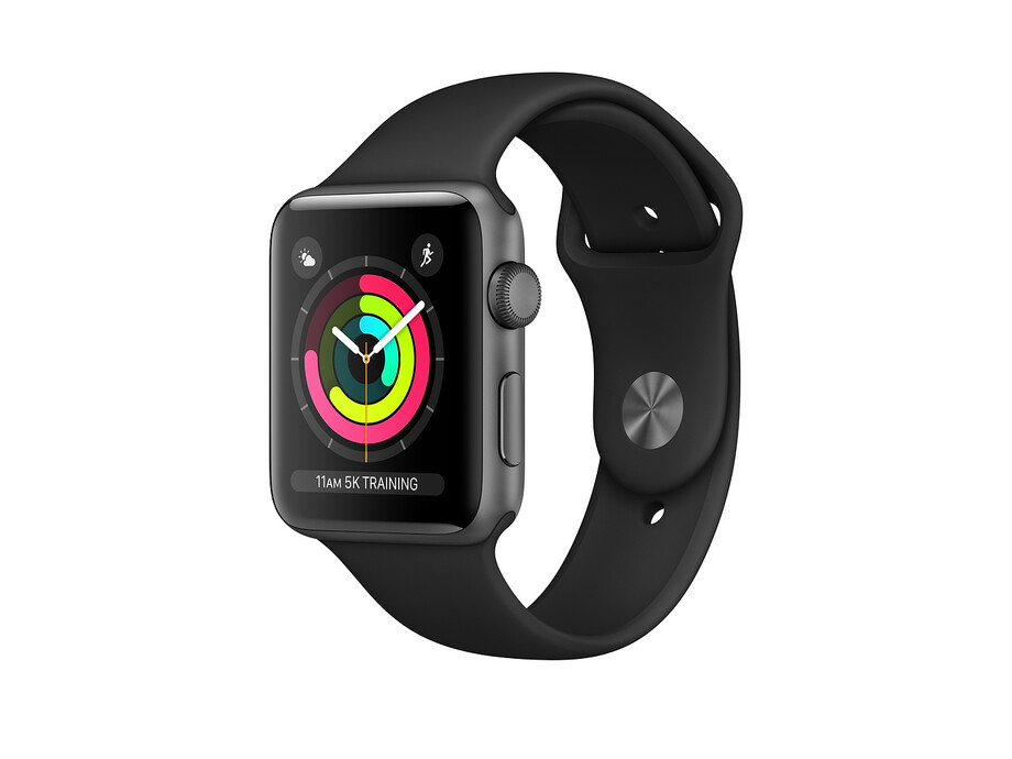 Apple Watch Series 3 GPS, 42mm Space Grey Aluminium Case with Black Sport Band 1