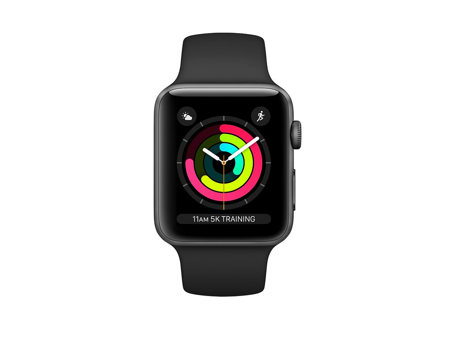 Apple Watch Series 3 GPS, 42mm Space Grey Aluminium Case with Black Sport Band 0