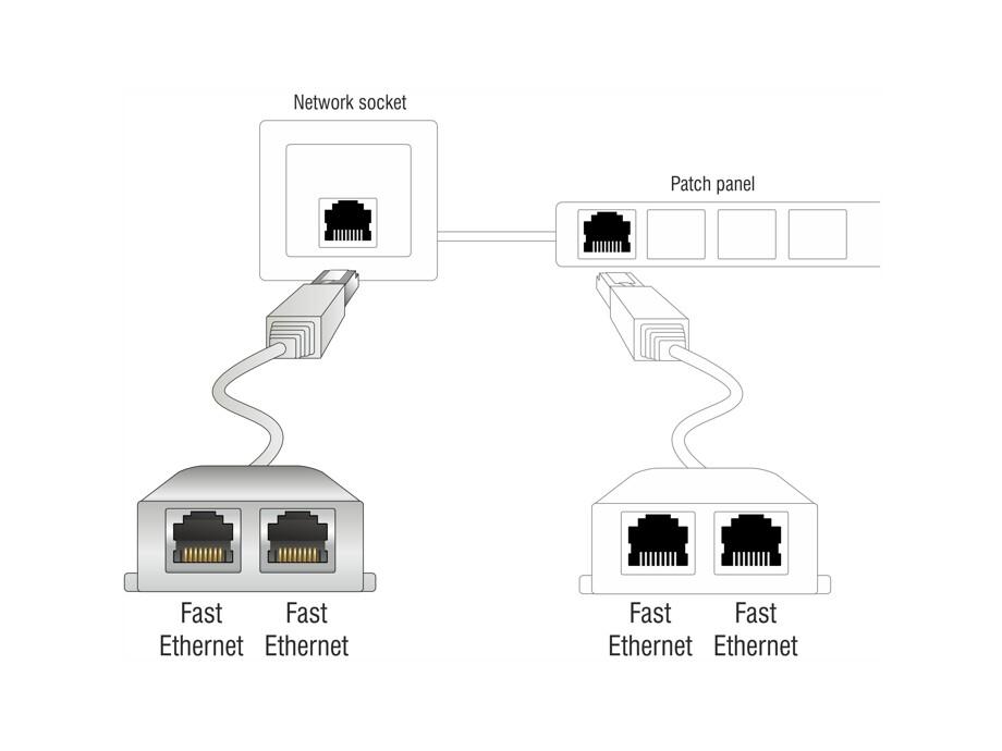 Delock RJ45 Port Doubler 1 x RJ45 plug > 2 x RJ45 jacks (2 x Ethernet) 1