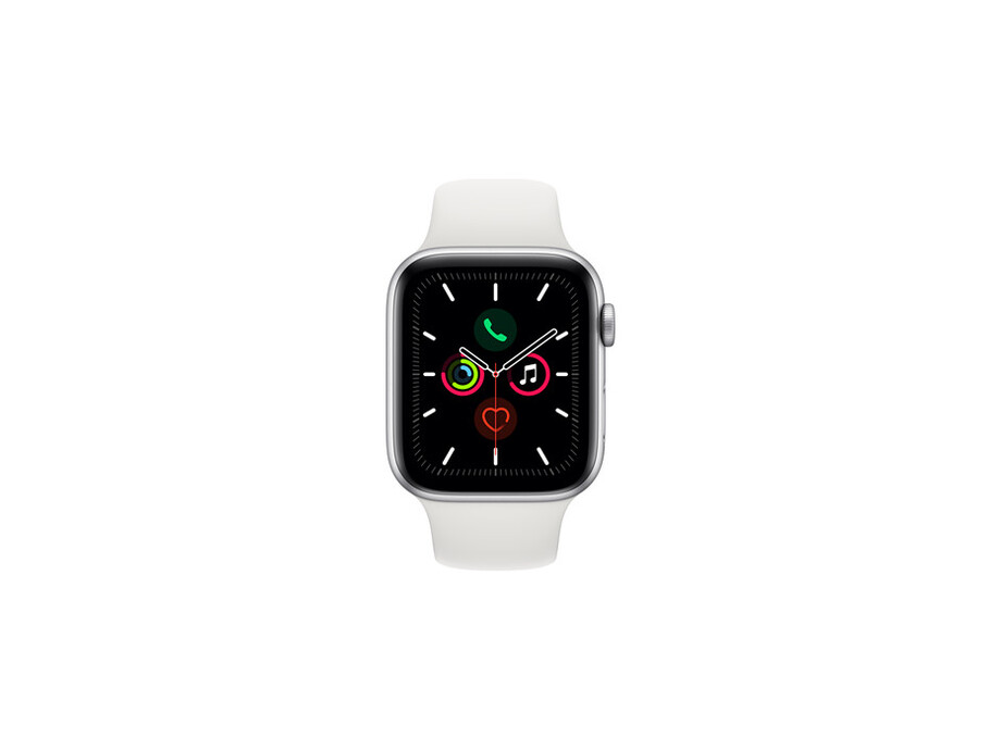 Apple Watch Series 5 GPS, 44mm Silver Aluminium Case with White Sport Band - S/M & M/L EOL 0