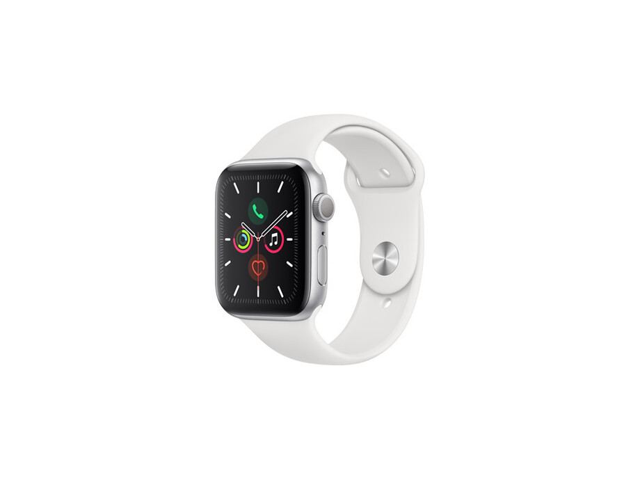 Apple Watch Series 5 GPS, 44mm Silver Aluminium Case with White Sport Band - S/M & M/L EOL 1