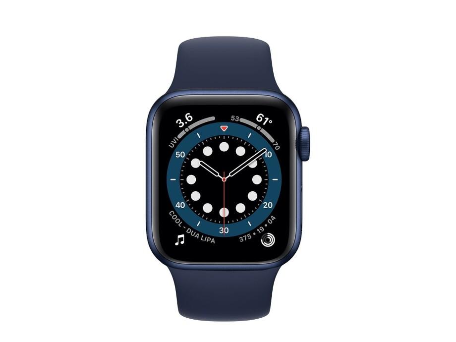 Apple Watch Series 6 GPS, 44mm Blue Aluminium Case with Deep Navy Sport Band - Regular 1