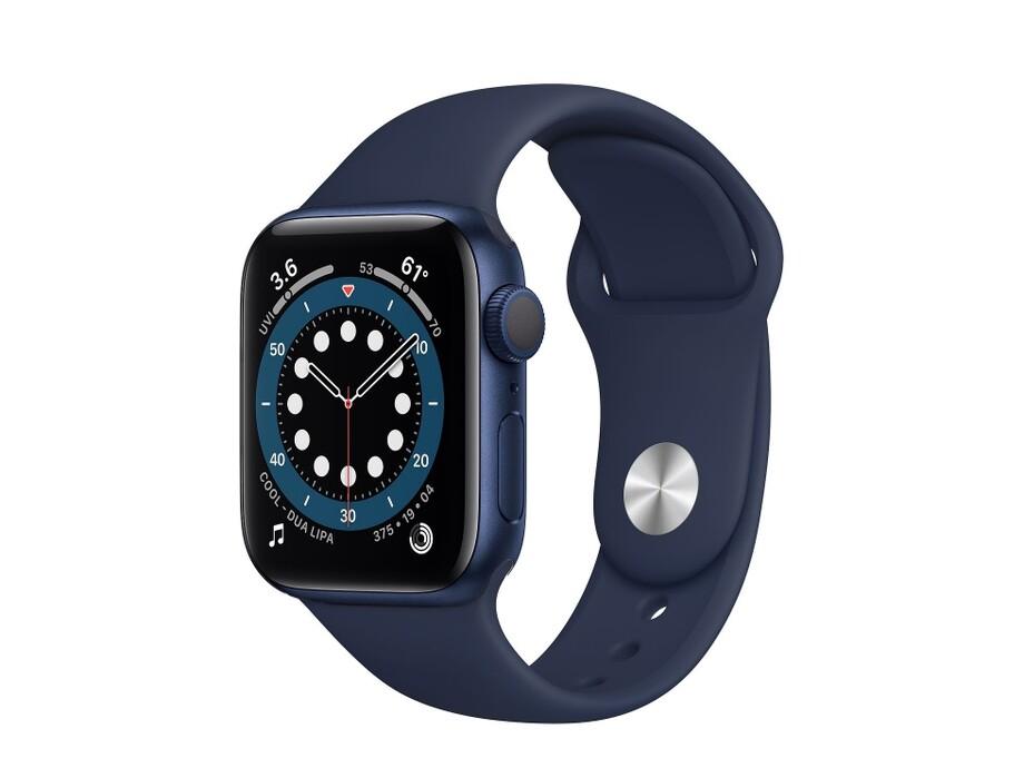 Apple Watch Series 6 GPS, 44mm Blue Aluminium Case with Deep Navy Sport Band - Regular 0