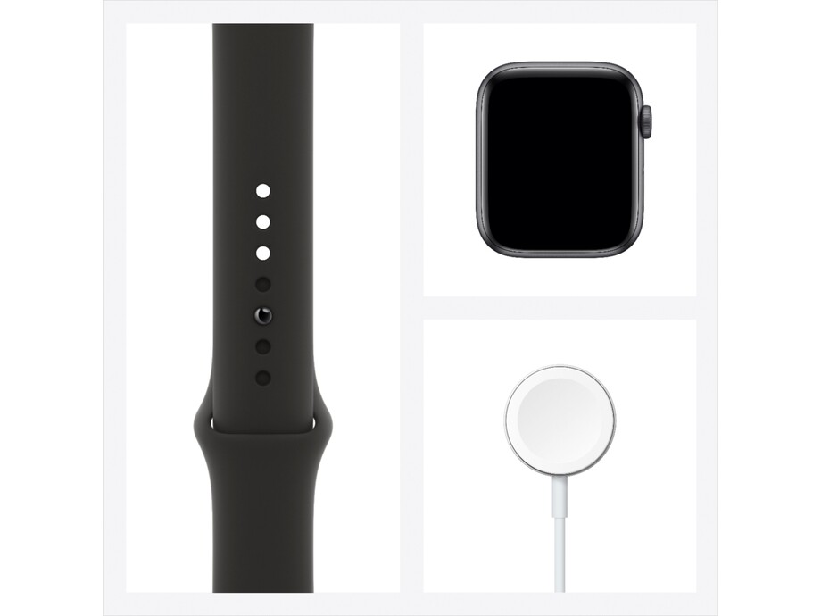 Apple Watch SE GPS, 44mm Space Gray Aluminium Case with Black Sport Band - Regular 2