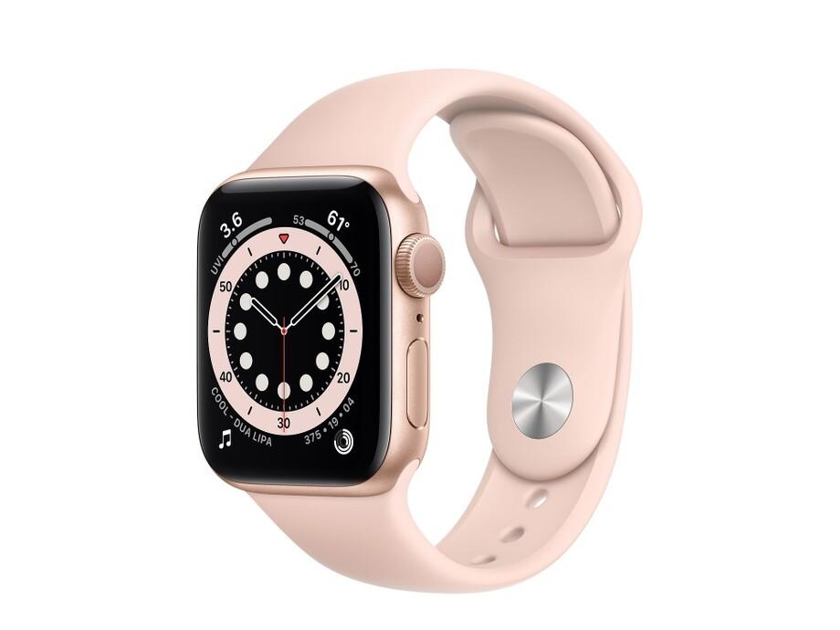 Apple Watch Series 6 GPS, 40mm Gold Aluminium Case with Pink Sand Sport Band - Regular 0