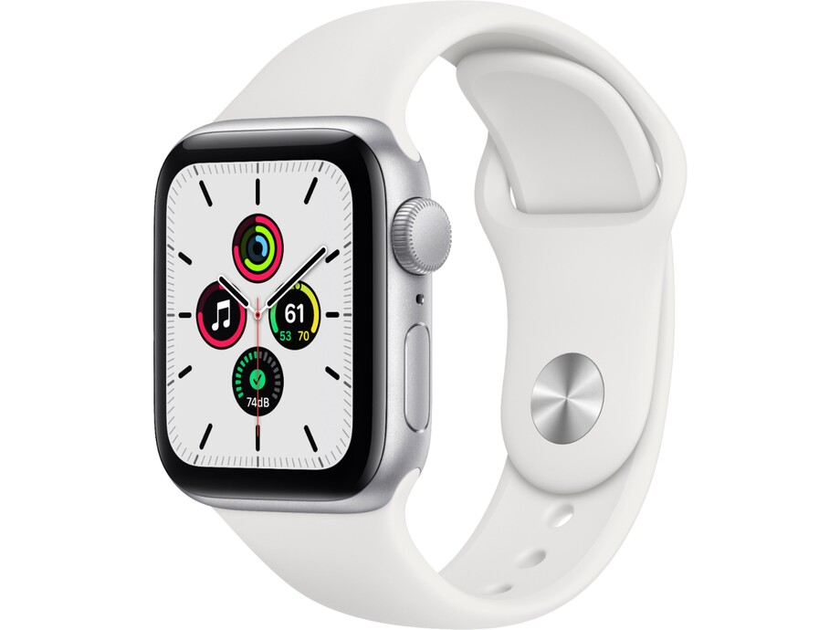 Apple Watch SE GPS, 44mm Silver Aluminium Case with White Sport Band - Regular 0
