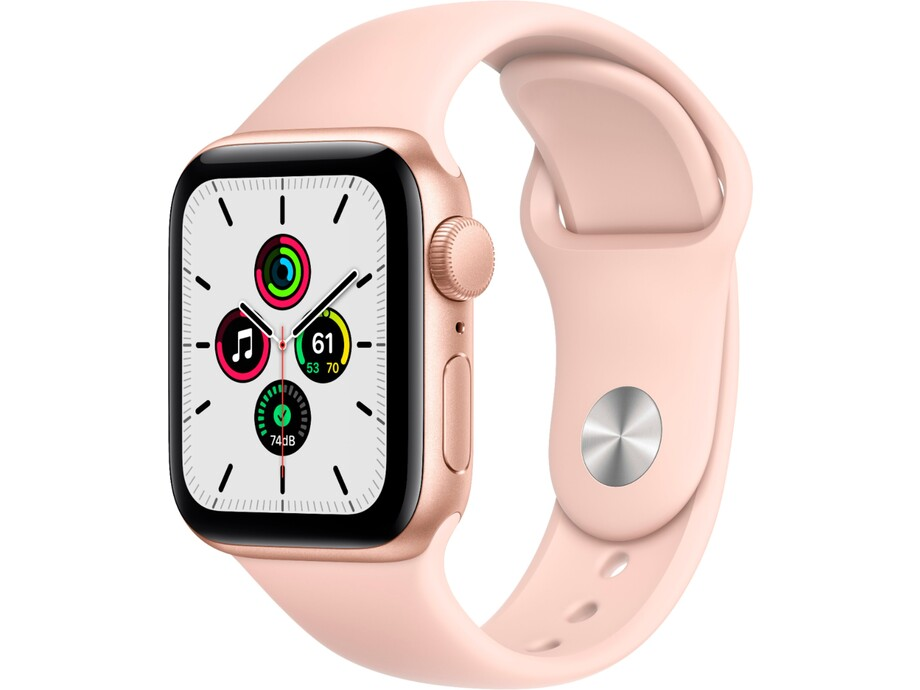 Apple Watch SE GPS, 44mm Gold Aluminium Case with Pink Sand Sport Band - Regular 0
