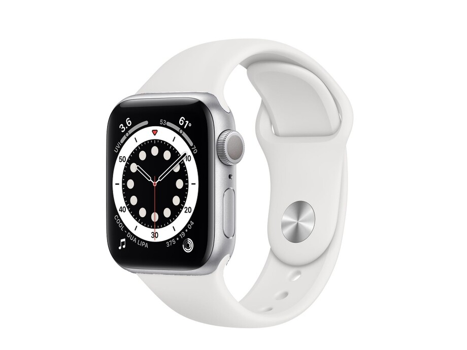 Apple Watch Series 6 GPS, 40mm Silver Aluminium Case with White Sport Band - Regular 0
