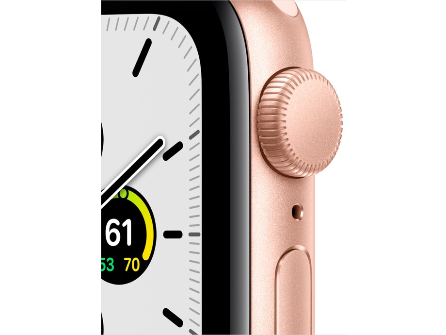 Apple Watch SE GPS, 44mm Gold Aluminium Case with Pink Sand Sport Band - Regular 1