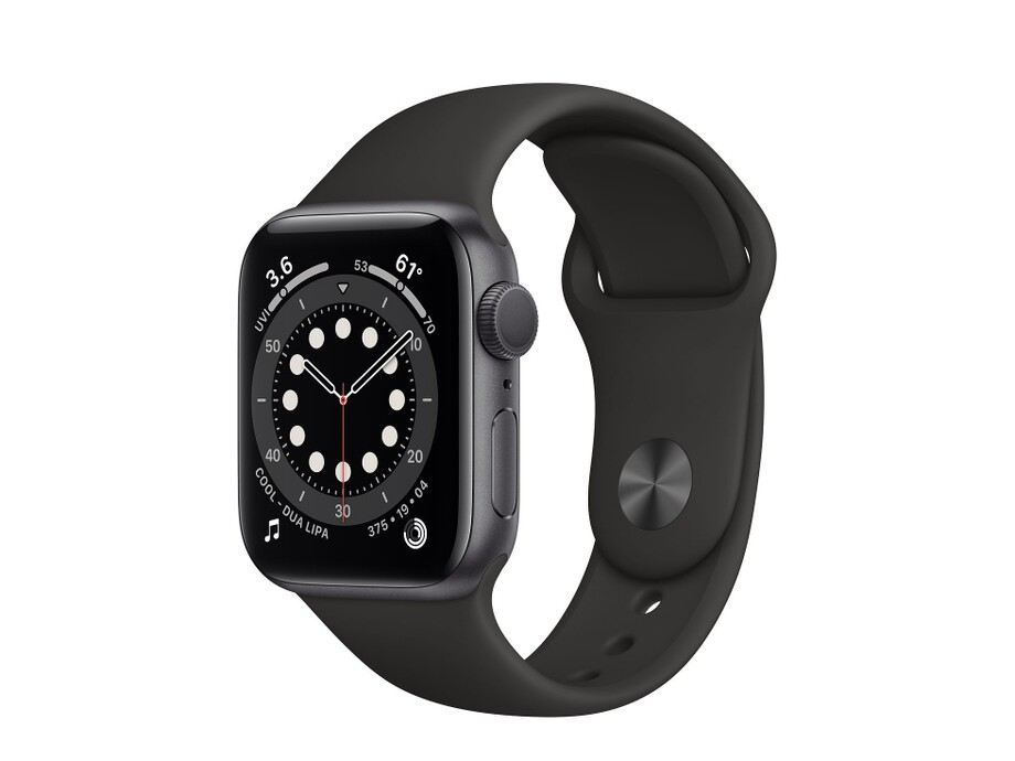 Apple Watch Series 6 GPS, 44mm Space Gray Aluminium Case with Black Sport Band - Regular 0