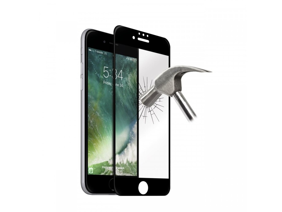 Trieciendroša stikla aizsargs Curved PRO 0.20mm/2.5D H9 iPhone 6Pluss Black 0