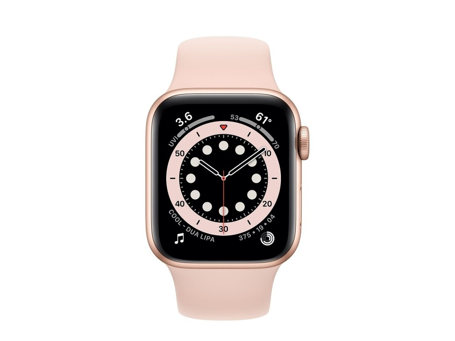 Apple Watch Series 6 GPS, 44mm Gold Aluminium Case with Pink Sand Sport Band - Regular 1