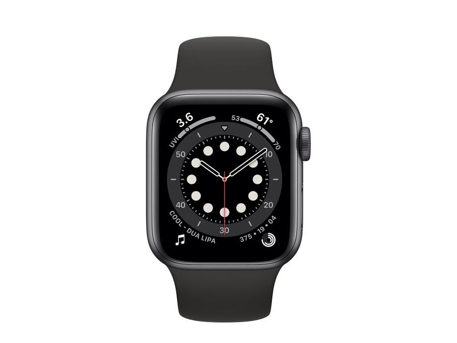 Apple Watch Series 6 GPS, 44mm Space Gray Aluminium Case with Black Sport Band - Regular 1