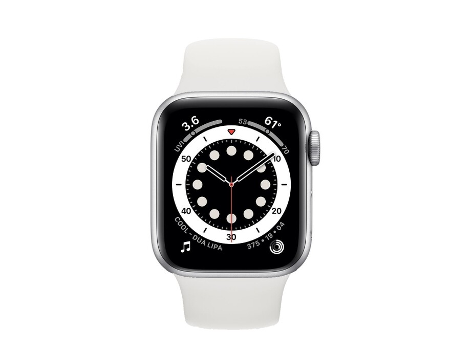 Apple Watch Series 6 GPS, 44mm Silver Aluminium Case with White Sport Band - Regular 1