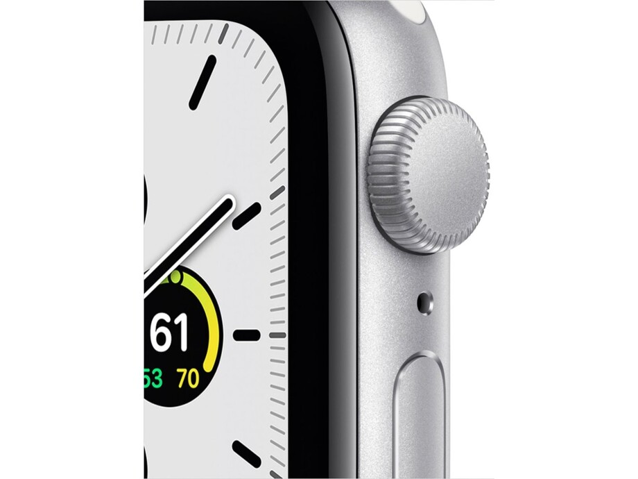 Apple Watch SE GPS, 44mm Silver Aluminium Case with White Sport Band - Regular 1