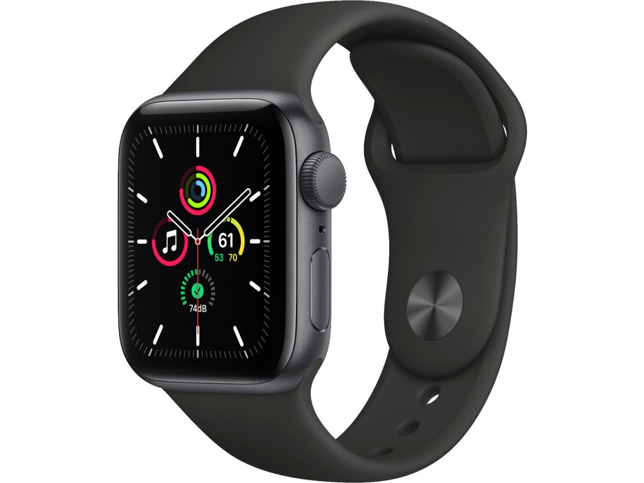 Apple Watch SE GPS, 40mm Space Gray Aluminium Case with Black Sport Band - Regular 0